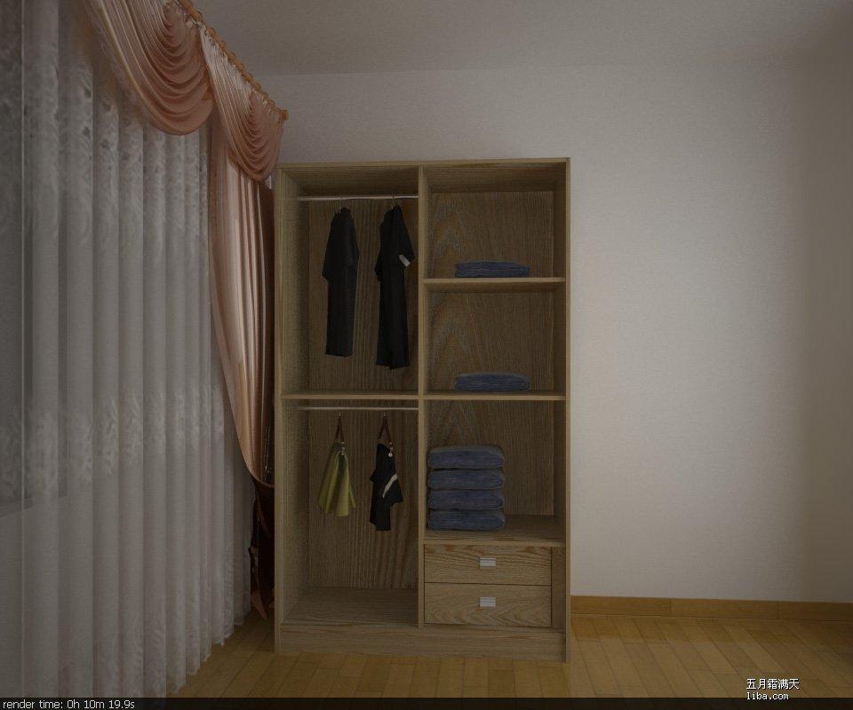 月霜满天   儿童房衣柜内部结构,把右边上面的两个层板改成了3个,