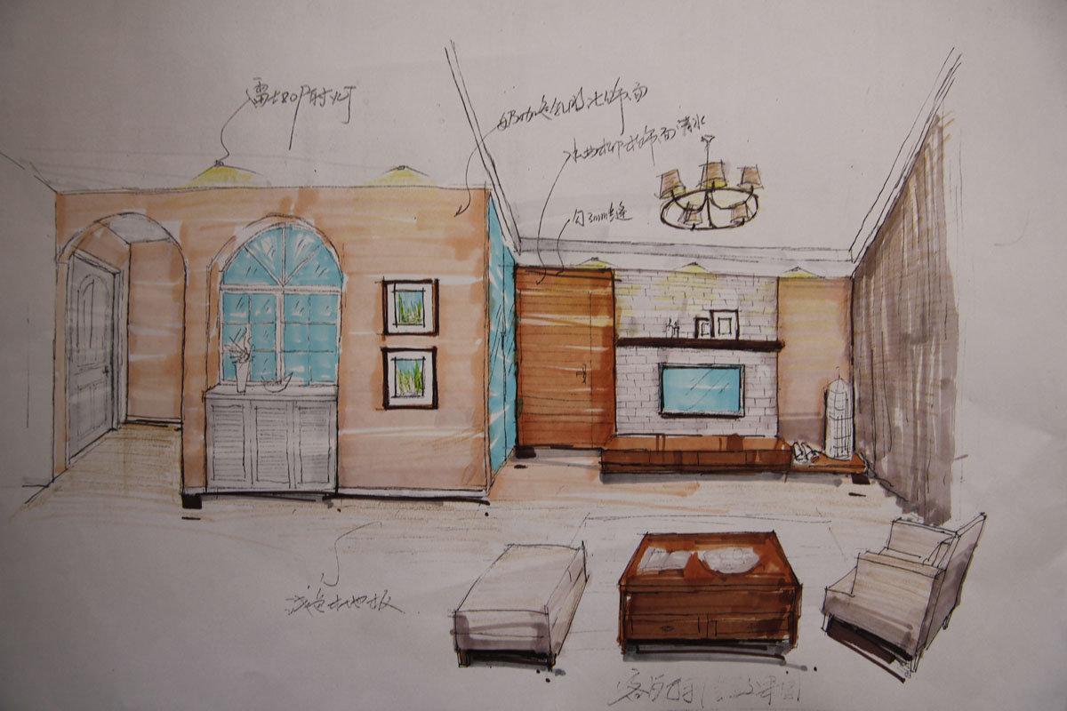 简约客厅背景墙效果图手绘图