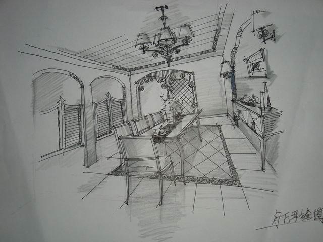 再来张餐厅的手绘图