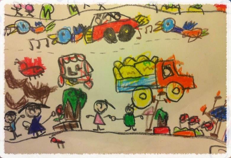 这张是在幼儿园画的马路上,感觉色彩搭配得很漂亮,这倒是出乎我的