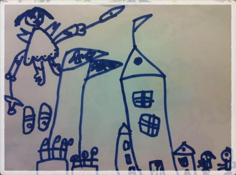 下面是简笔画,应该是天使和城堡