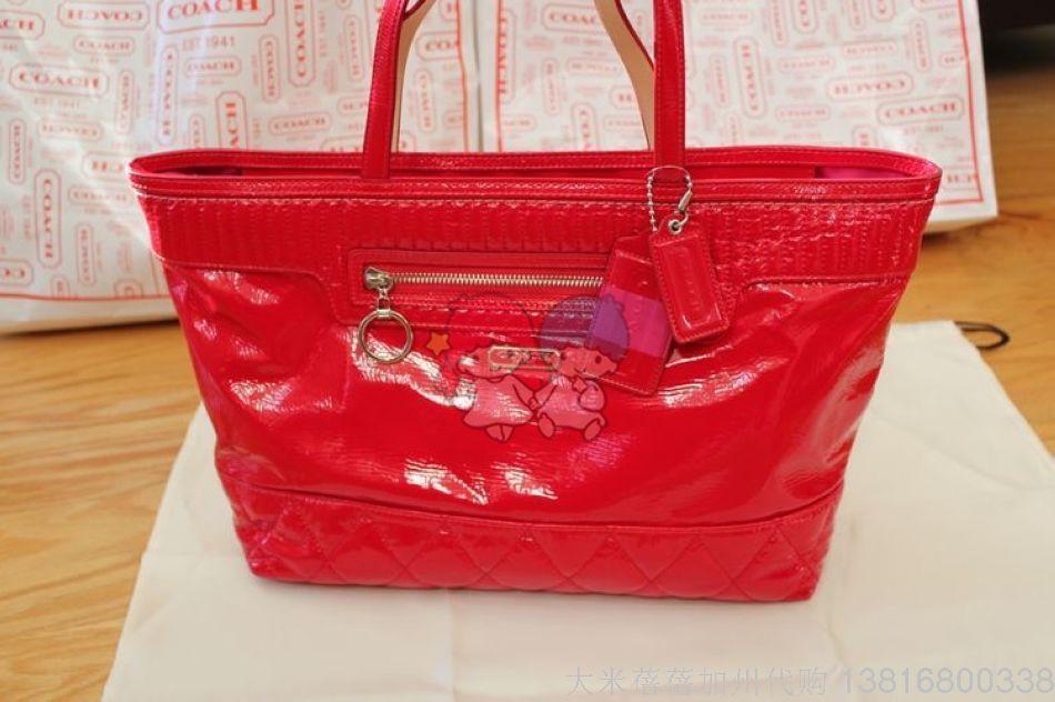 coach f18674 女装玫红色漆皮手挽
