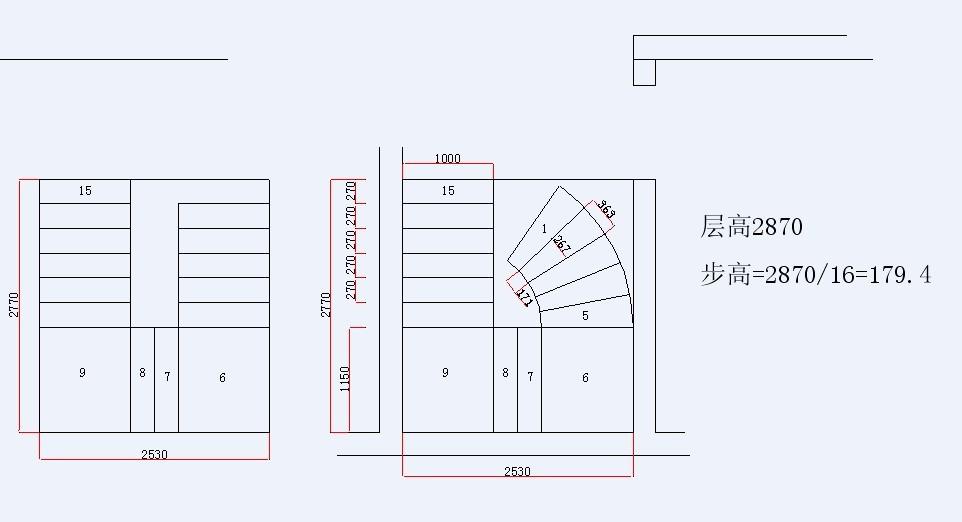 u型楼梯设计平面图