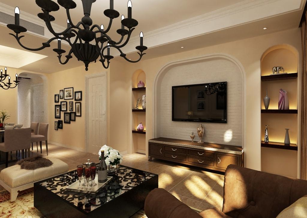 简美风格电视背景墙》简美卧室装修效果图》简美装修