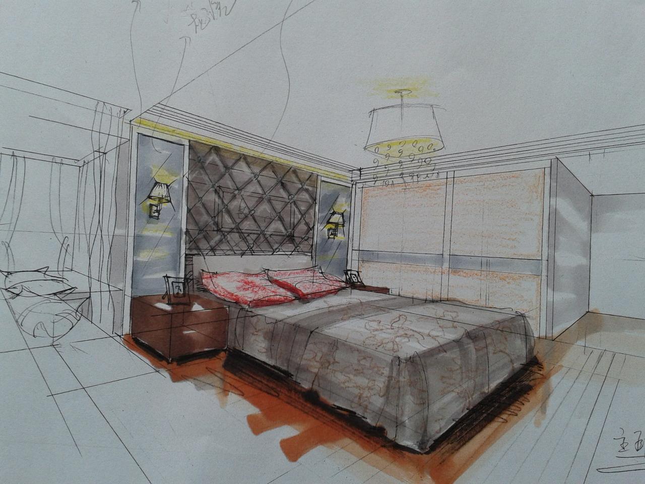 小黎的卧室手绘图,各位大虾给点意见,多谢!