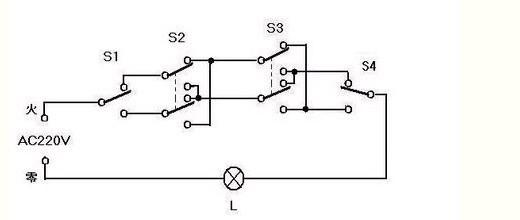 接线图也找了一个,一灯四控