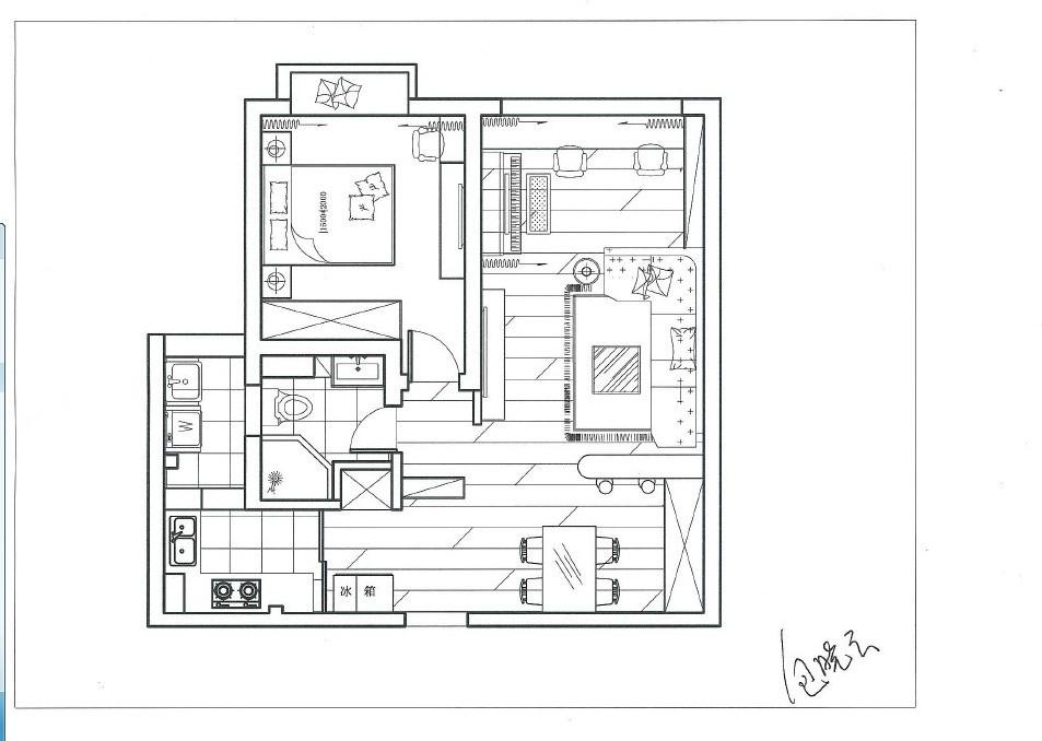請問下面的平面圖我想放一個電腦桌和書柜,不知道怎么圖片
