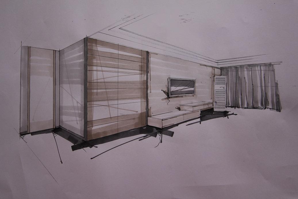 客厅手绘图,隐形门设计是亮点