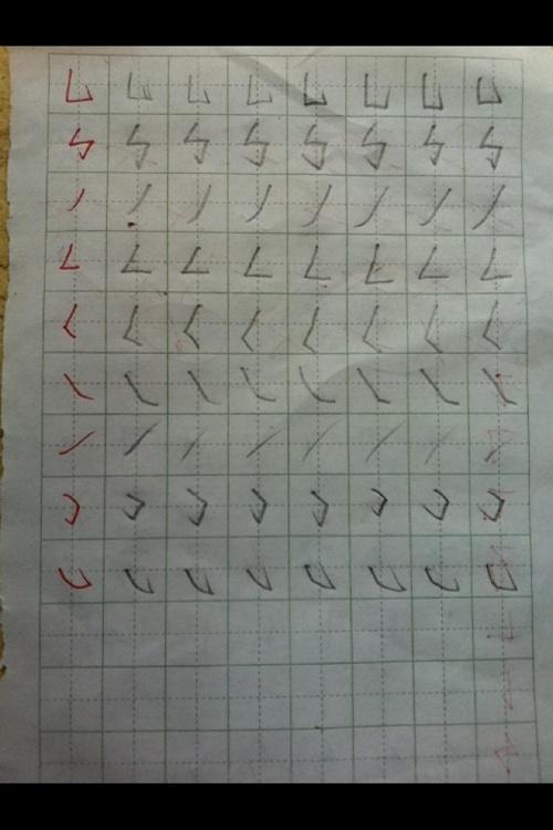 里学习了28个笔画,写地也还不错,但是一个字写完整就一点儿不好