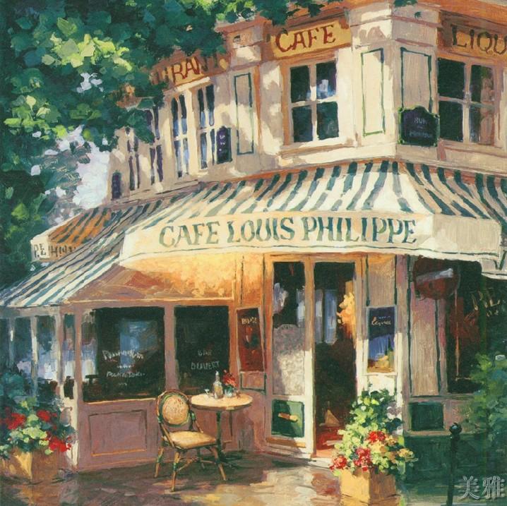 小 咖啡  馆 /高仿真油画/欧式 装饰 画/古典油画/美克美家宜家 装饰