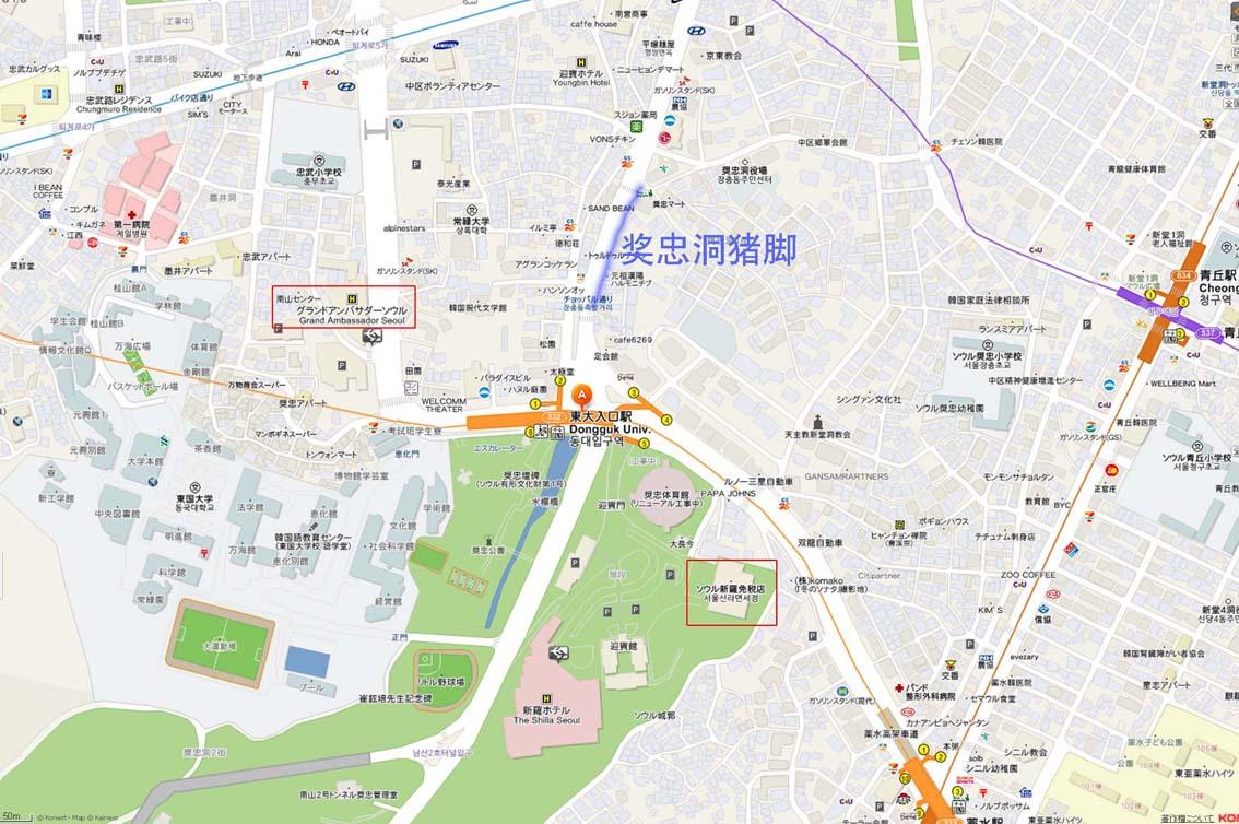 中韩文对照首尔地图