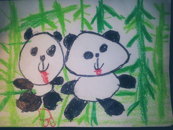 22宝宝作品——大熊猫(幼儿园画)