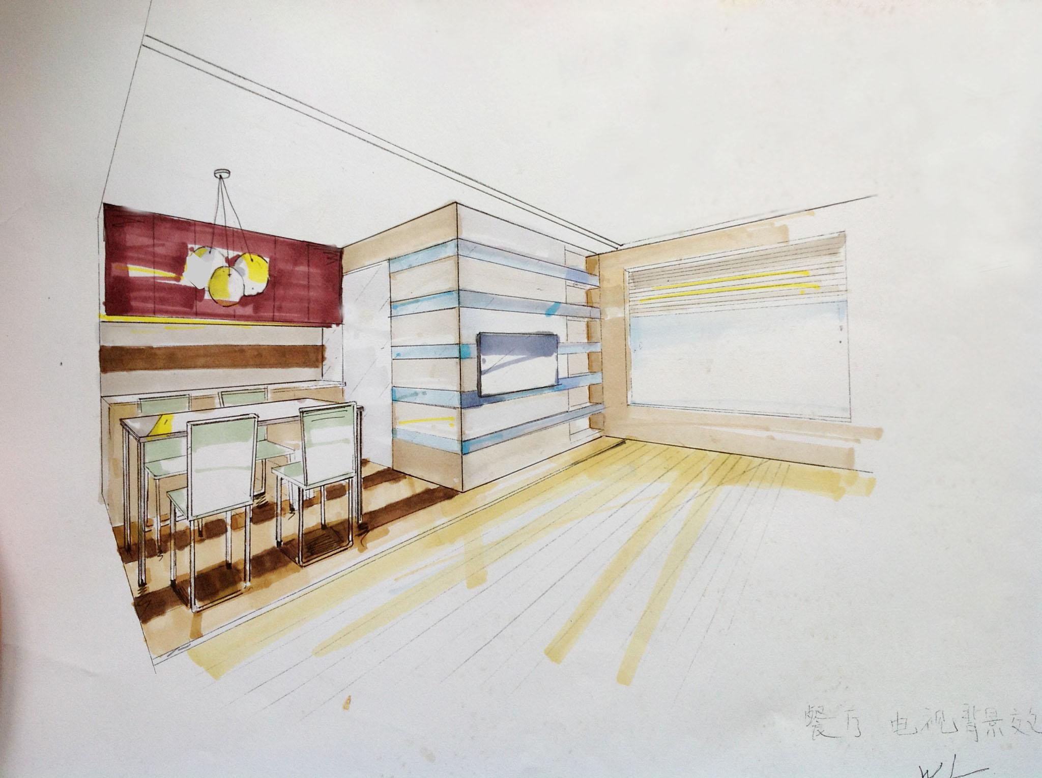橱柜手绘图铅笔