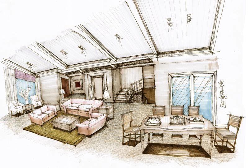 一层客厅,餐厅手绘图