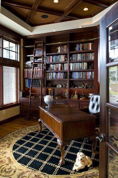 2013欧式风格封闭式经典书房书柜书桌椅子窗户