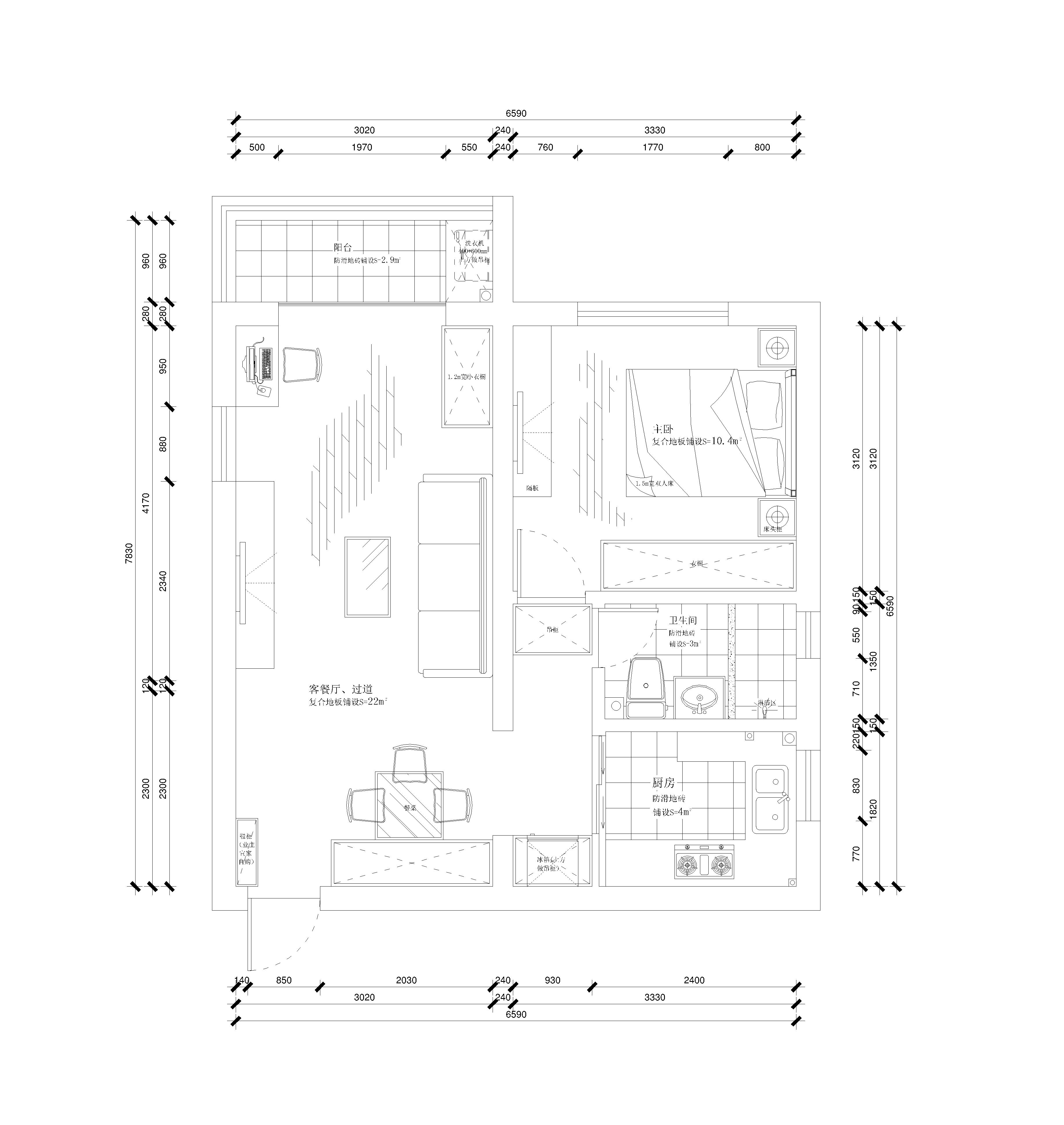 三房一厅水电路施工图