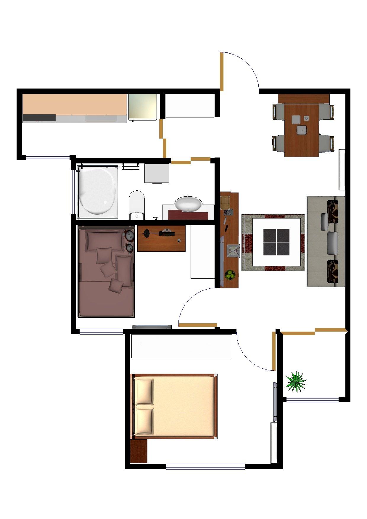 主题:72平房子自己画的装修平面设计图,两种房间布置方案,老婆要南北
