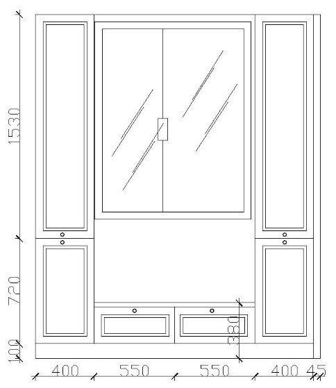 看一下平面圖,就是左邊這排柜子沒辦法做了.圖片