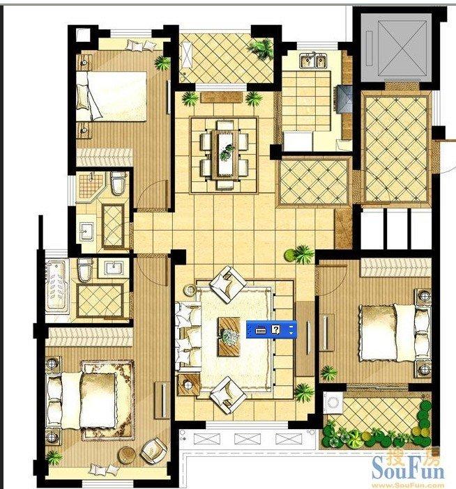 3房2厅2卫改成4房2厅2卫的设计图纸图片
