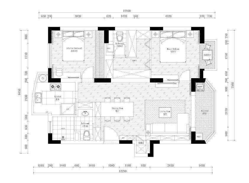 110平方房子设计图 三室二厅户型图装修效果图(4)