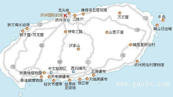 济州岛的旅游地图