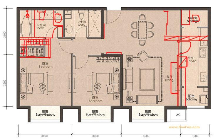 纯南向正长方形户型装修求支招~(两室一厅两卫)