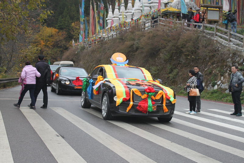 在寨前的公路上正好碰见一队藏族婚车,顺便沾沾喜气.图片