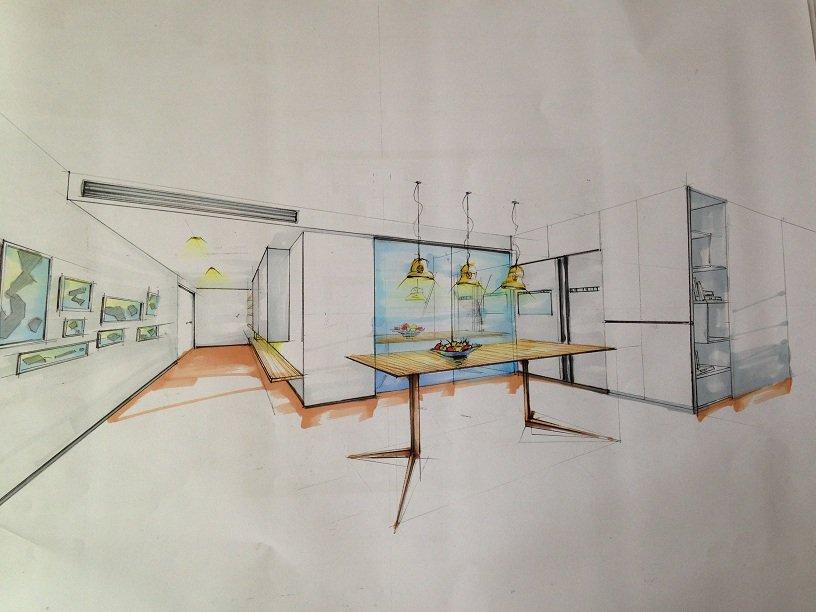 上点设计师手绘图吧 餐厅和厨房