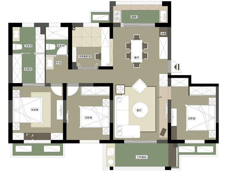 5米一层要一卫一厨房一餐厅一大客厅的设计