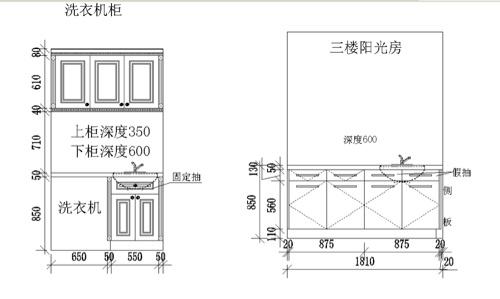 洗衣機柜和陽光房柜子圖樣,陽光房只能用愛格板了圖片