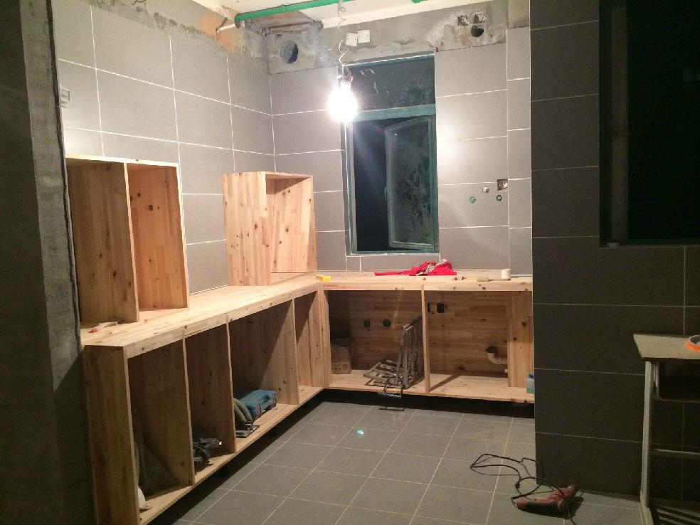 厨房的柜子们,通通爸爸自己买材料让木工做图片