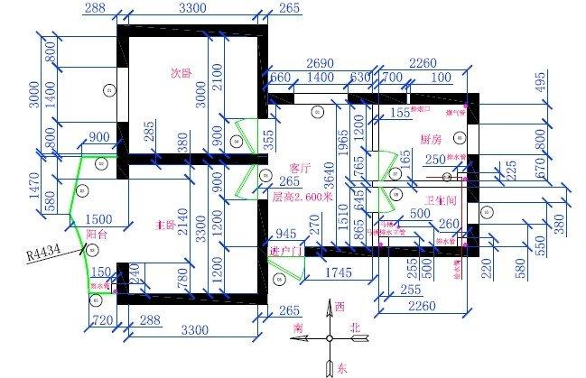 求设计!建面58平的两房一厅(上平面图)