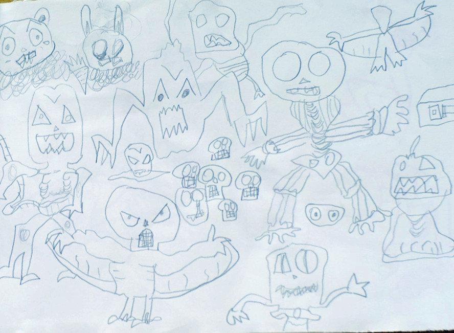 另外贴点我家小朋友幼儿园的作品,男孩子脑子里整天都是怪兽,僵尸