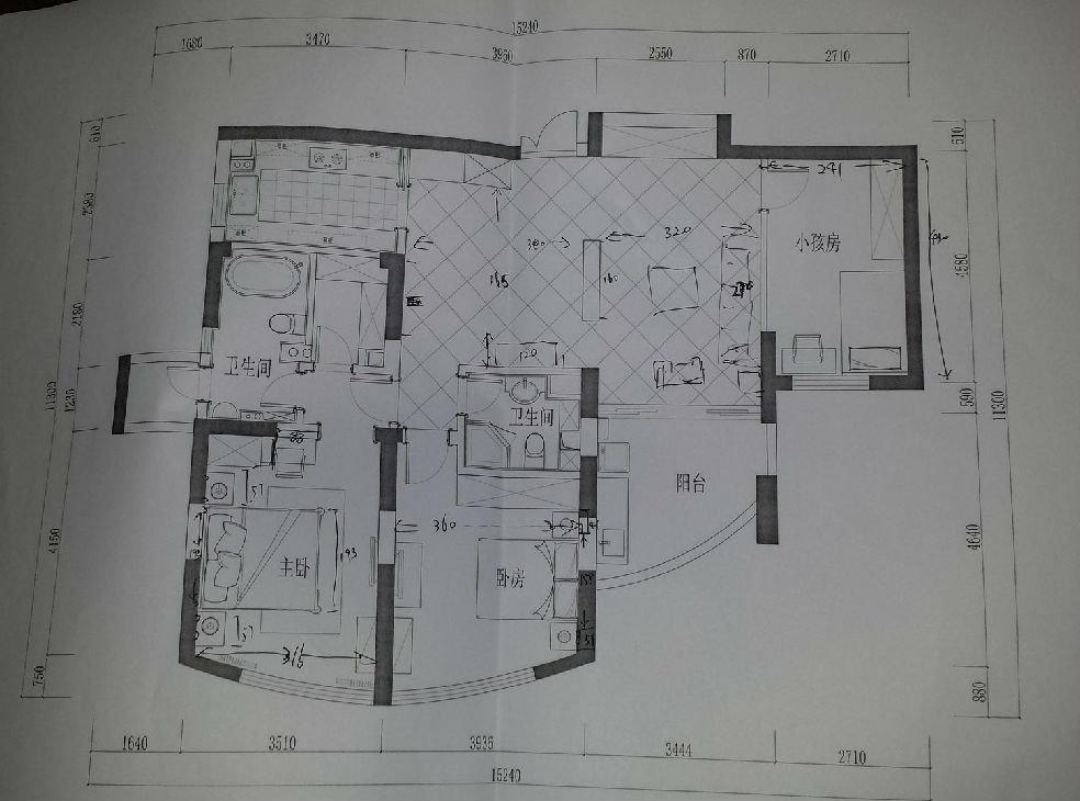 平面设计图 当时为了让沙发靠墙,电视有地方挂设计如下