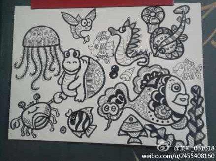儿童绘画图片大全海底_海底动物绘画图片图片