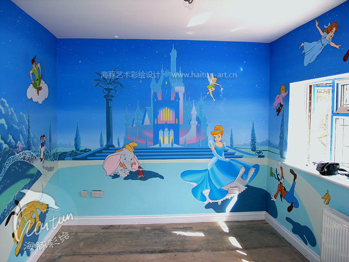 【儿童房】彩绘装修 海豚墙艺