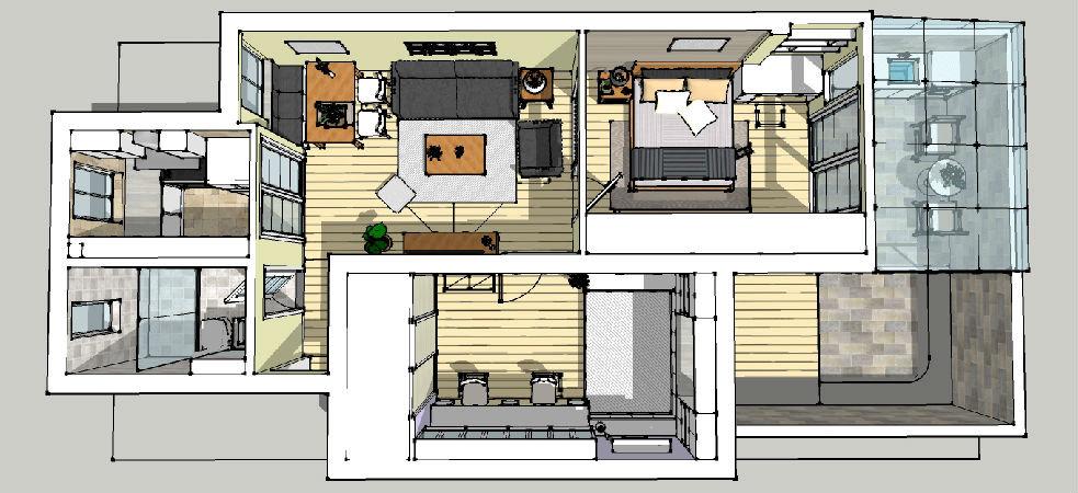 房一厅带天井,75平,【时尚美式自由】图片